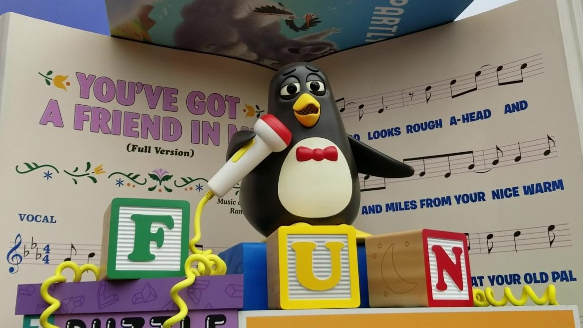 "Wheezy, from Toy Story, singing ""You've Got a Friend in Me"" with blocks spelling ""FUN"""