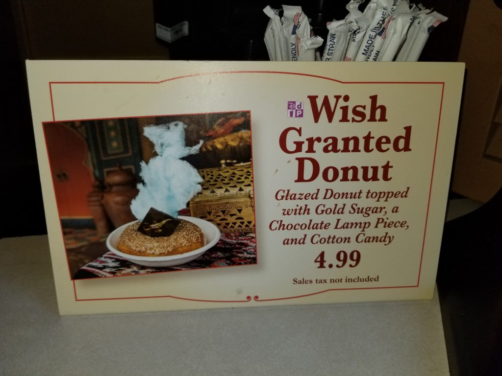 "Sign for the ""Wish Granted Donut"" at Sunshine Tree Terrace - $4.99 Sales tax not included"