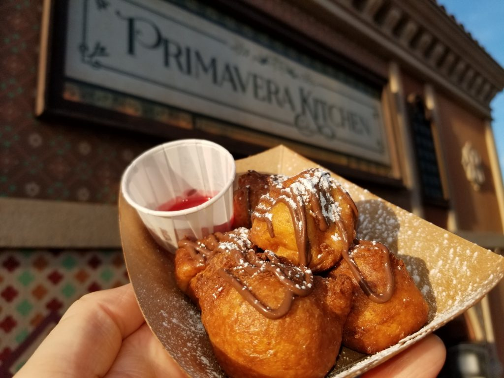 Zeppole from the Primavera Kitchen in the France Pavilion at the Epcot Flower and Garden Festival