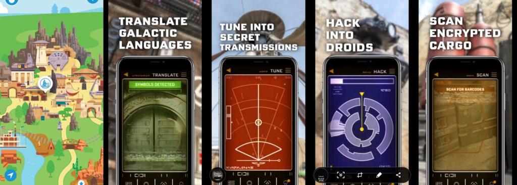 Screenshots of the Star Wars: Datapad for use in Star Wars: Galaxy's Edge