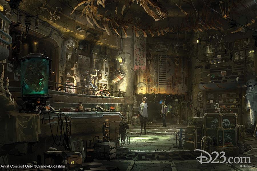 Concept art for Dok-Ondar's Den of Antiquities a room with Star Wars memorabilia and stuffed creatures.