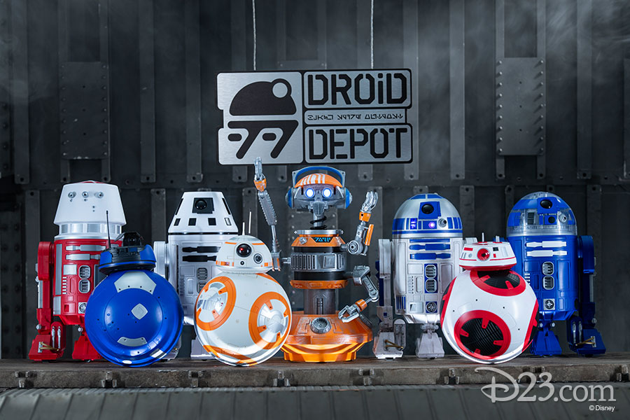 A picture of droids.  The one in the middle is holding a sign that says Droid Depot.