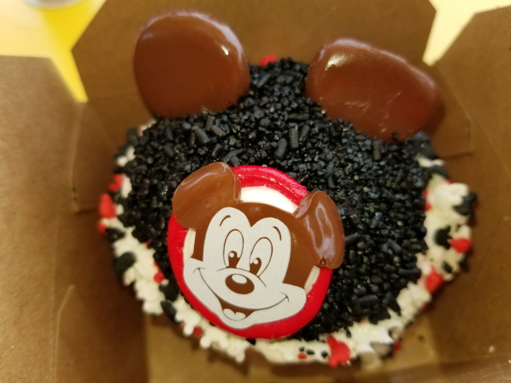 The Mouseketeer Cupcake in a To Go Box from Magic Kingdom's Main Street Bakery