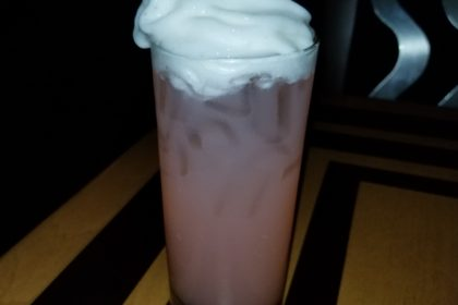 Watermelon Lemonade with Lemon Lime Foam in a Glass