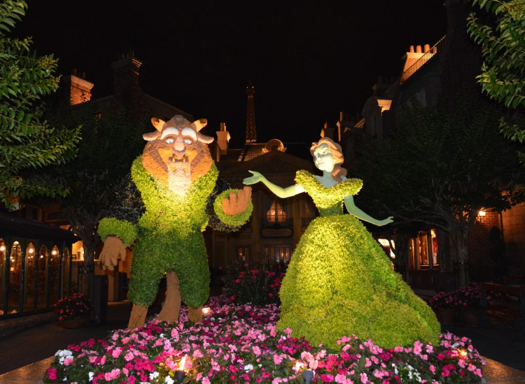 The Beauty and the Beast topiaries in the France Pavilion of Epcot's World Showcase.