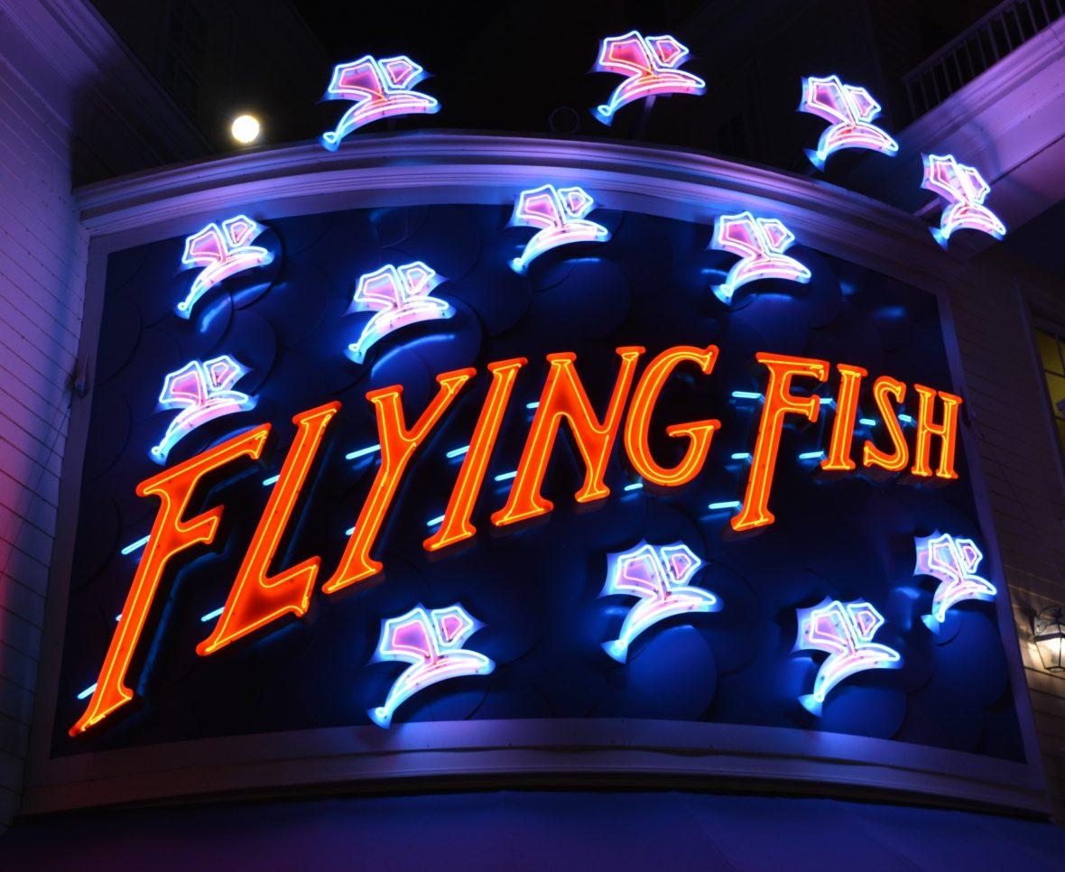 Sign for the Flying Fish Restaurant on Disney's BoardWalk