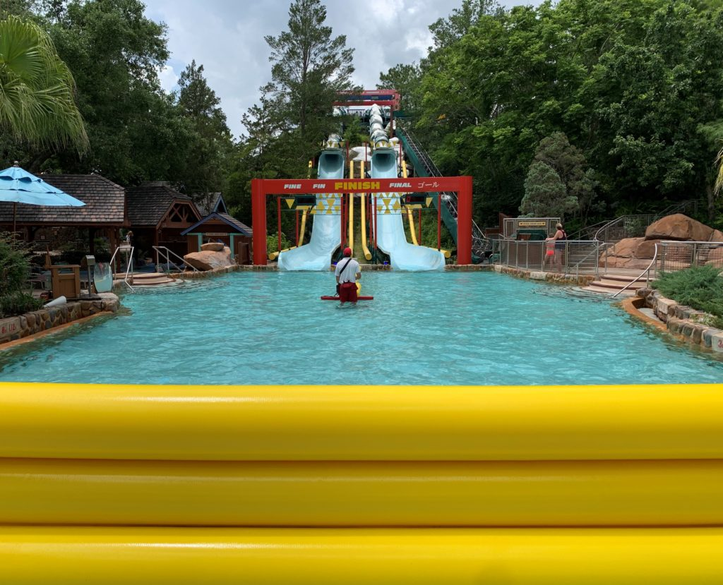 The Downhill Double Dipper—a racing slide with a timer and buzzer at Blizzard Beach.