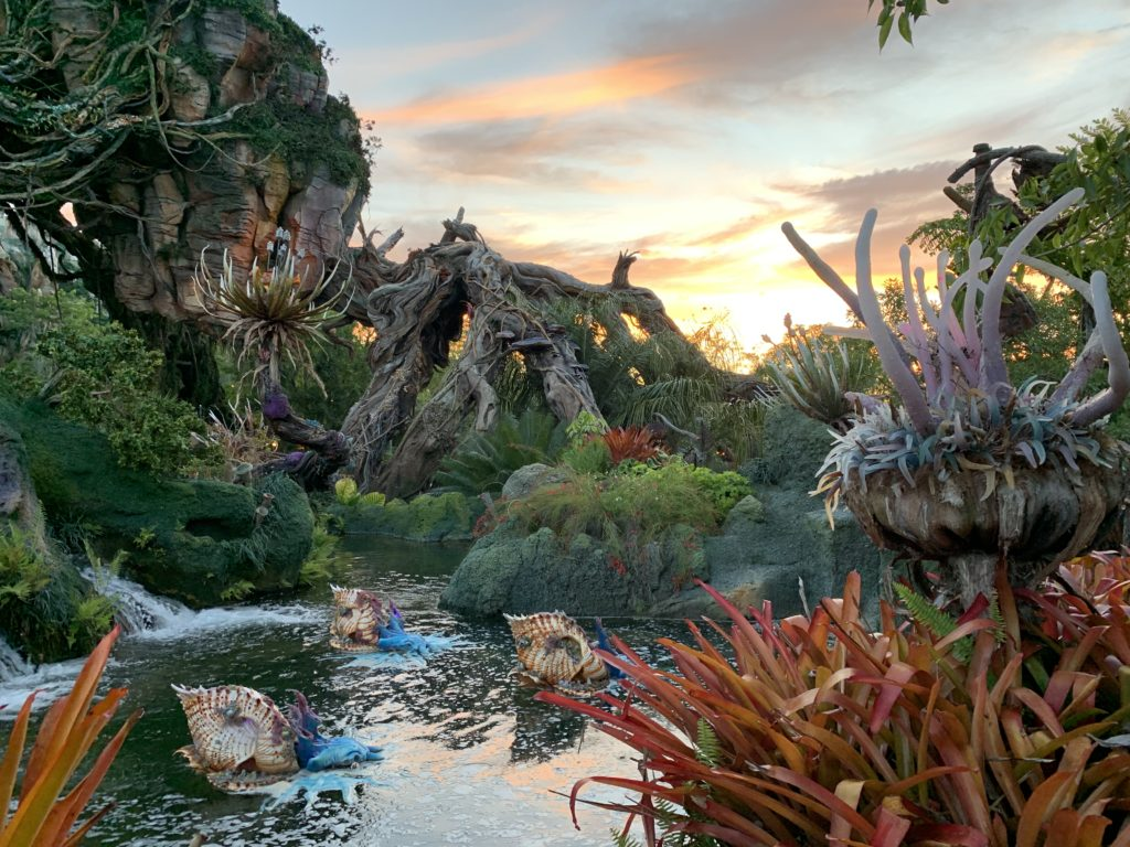 Sunset in the world of Pandora in Disney's Animal Kingdom.