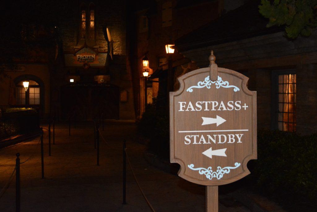 The Fastpass and Standby Sign for the Frozen Ever After Ride in Epcot's Norway Pavilion