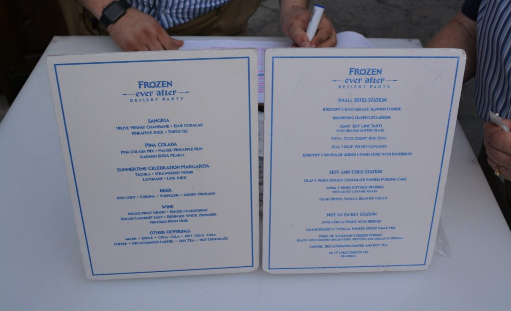 The menu display for the Frozen Ever After Dessert Party